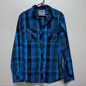 Surplus Blue Plaid Mens Long Sleeve Shirt- XL